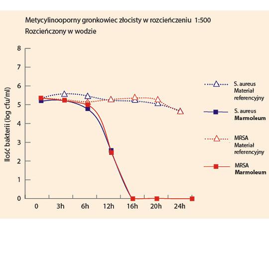 Rozwój bakterii na powierzchni Marmoleum i powierzchniach referencyjnych w ciągu 24 godzin w warunkach mokrych