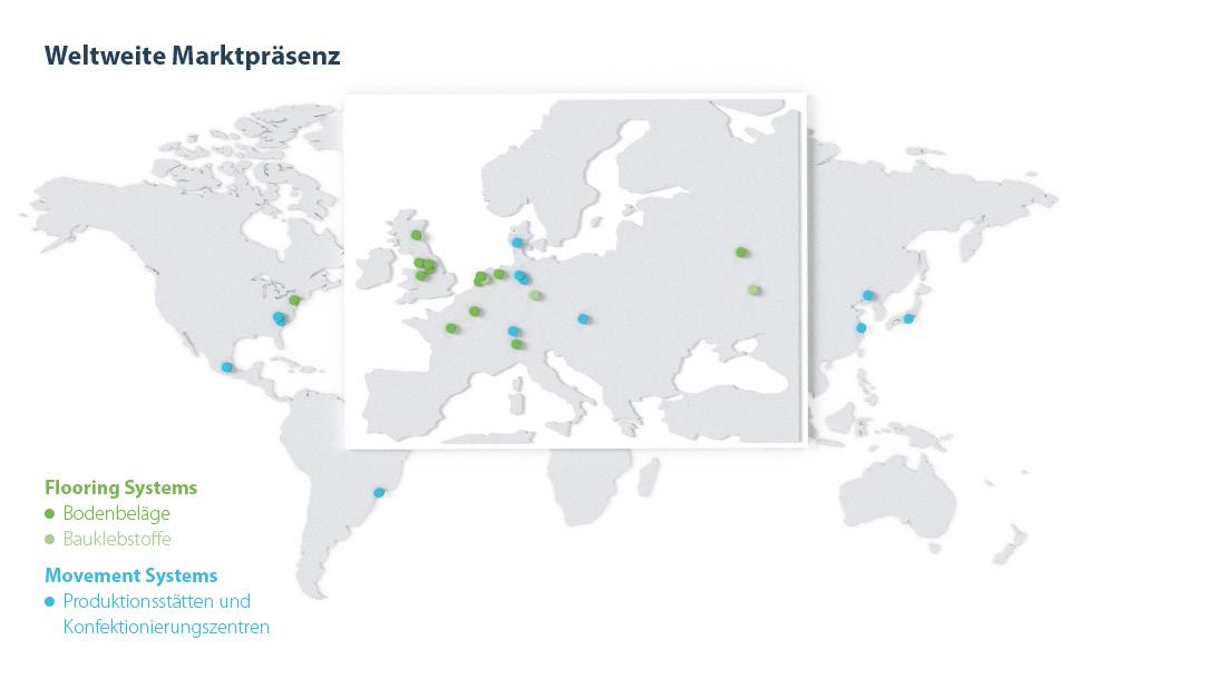 Übersichtskarte Forbo Standorte weltweit 2018