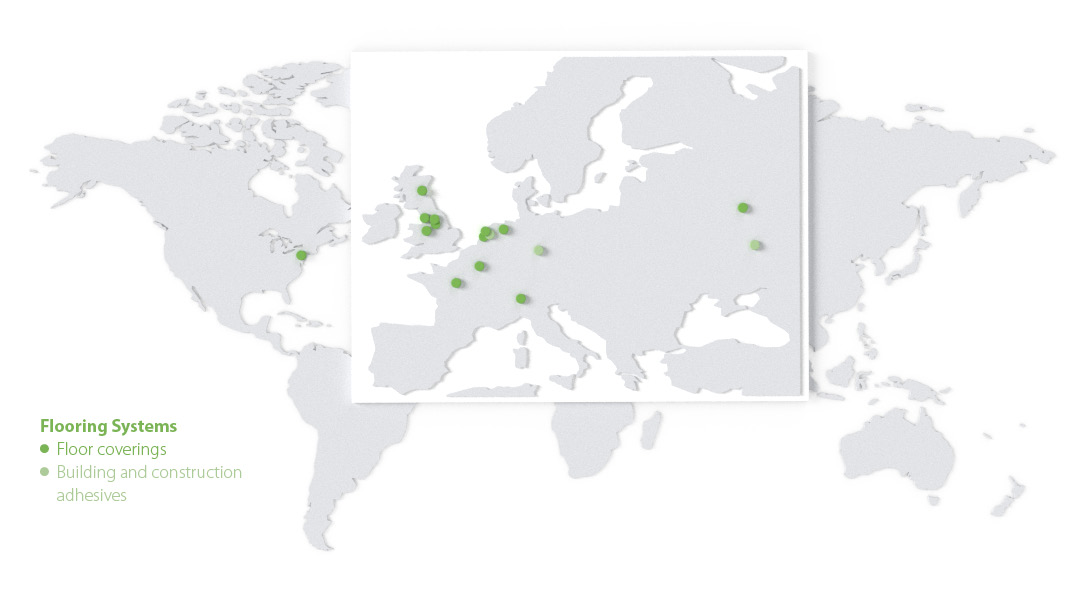 World map with an overview of the locations of Forbo Flooring Systems.