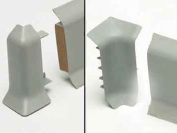 Innen- und Außenecken für hinterlüftete Sockelleisten