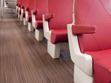 Marmoleum FR linoleum flooring - NS Trains