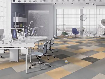 Linoleum Modular tile flooring - Healthy Office Flooring