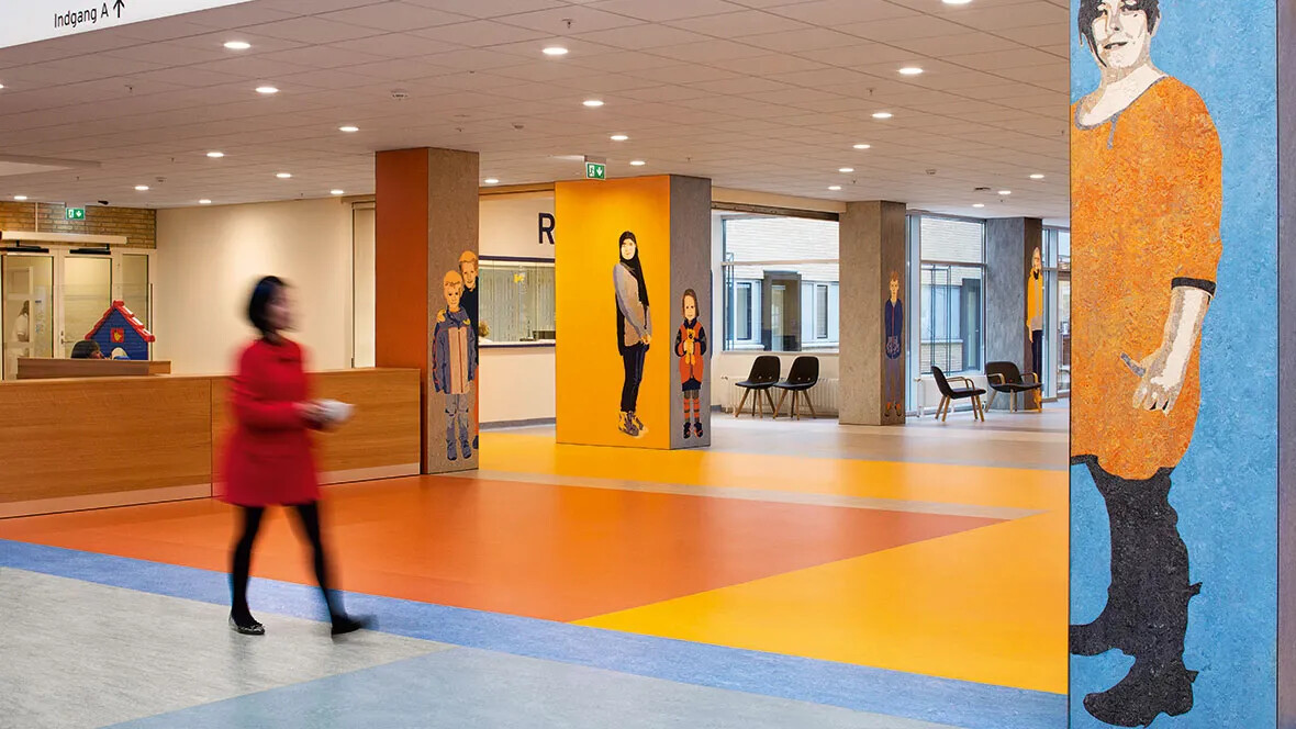 Marmoleum flooring in the Abenra Hospital in Denmark