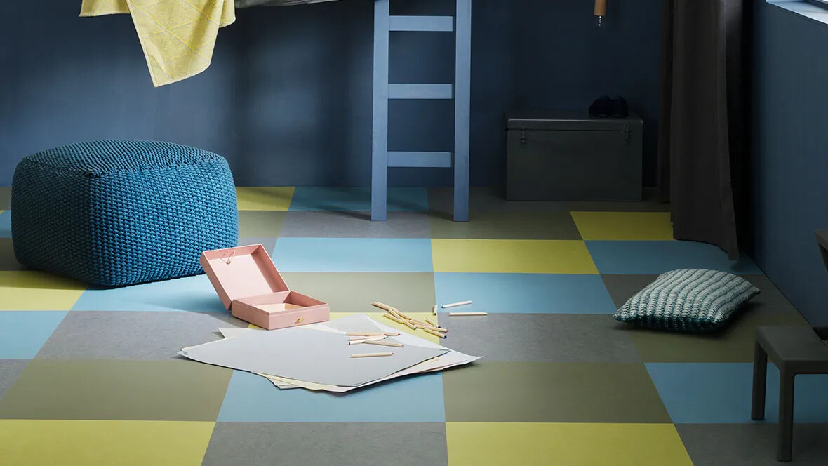 Marmoleum Click 333866 | eternity, 333355 | rosemary green, 333885 | spring buds, 333360 | vintage blue