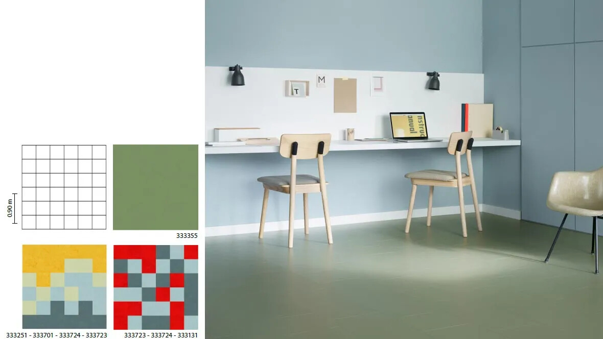 Marmoleum Click grids home office