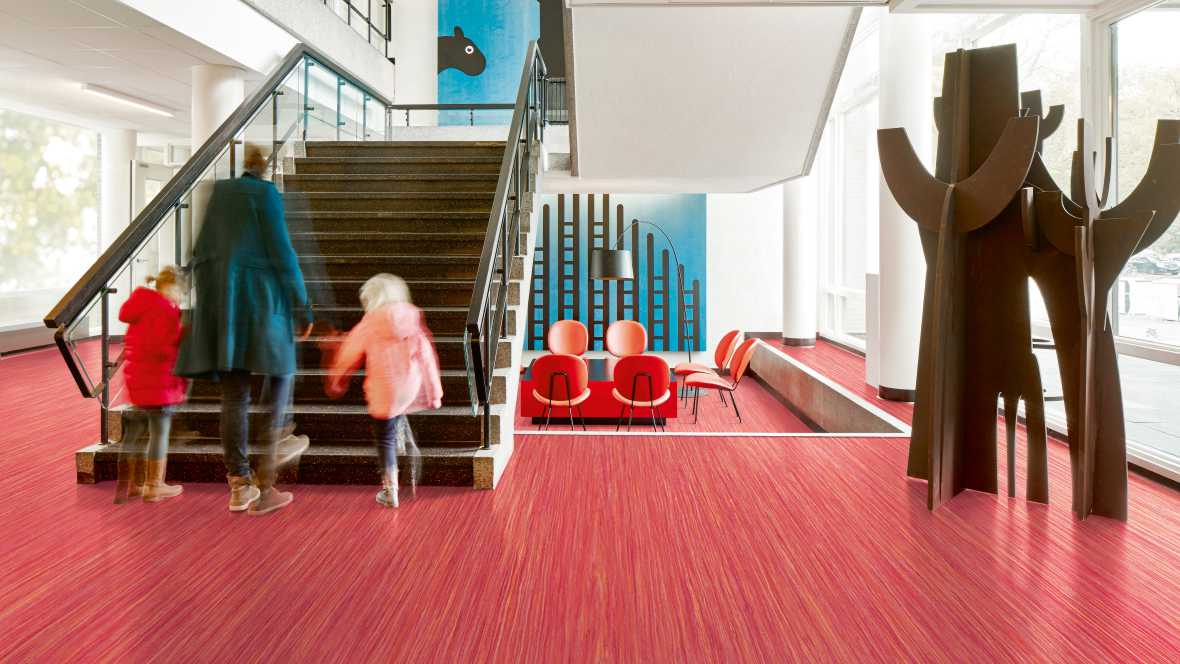 Marmoleum Striato Colour 5242 red roses - lobby stairs