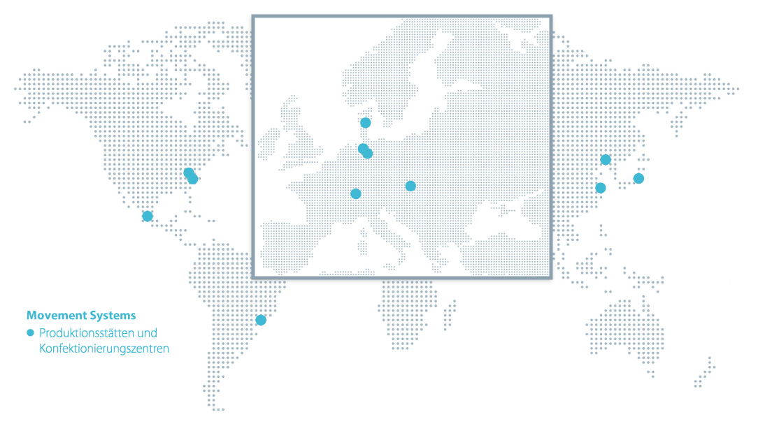 Weltkarte mit den eingezeichneten Standorten von Forbo Movement Systems.