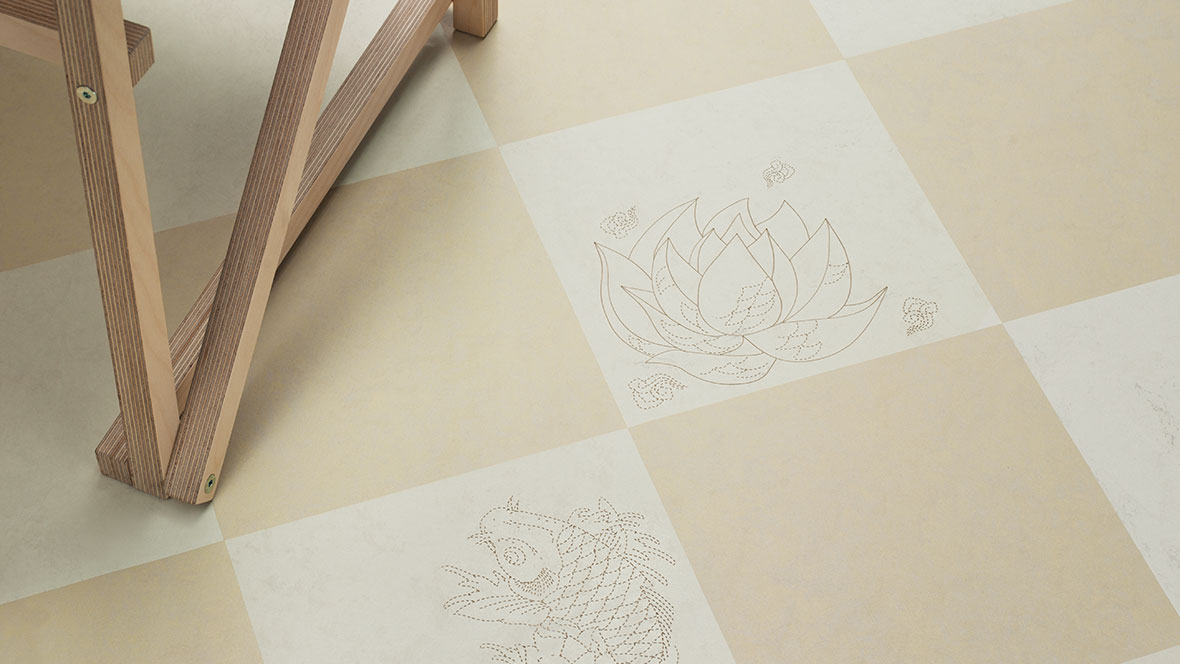Marmoleum Signature Tattoo laser engraved tiles