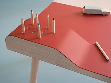 Did you know that you can also use Marmoleum as furniture surface material and wall covering?