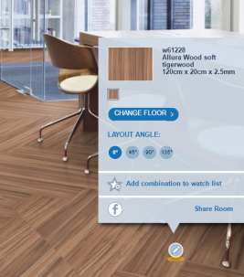 In our floorplanner you can see and play with our floors in various room scenes and segments