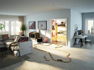 Forbo Parkett och Marmoleum Clivk i vardagsrum och barnrum 357x268