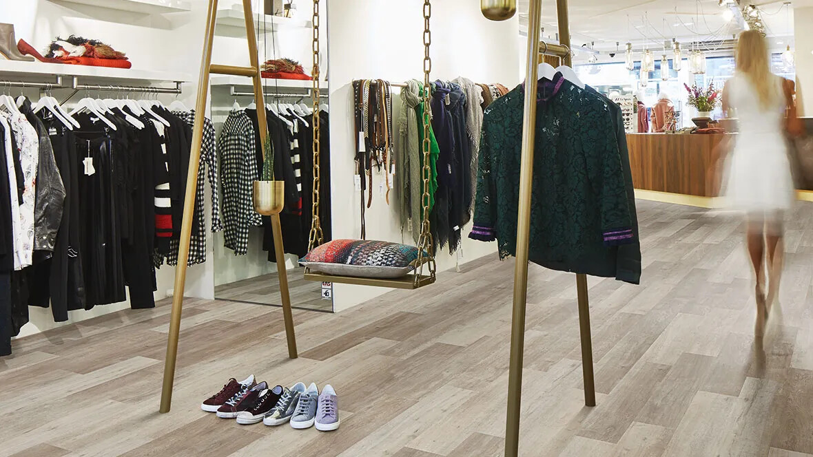 Allura Wood luxury vinyl tiles & Planks w60350 clothing shop - Retail flooring