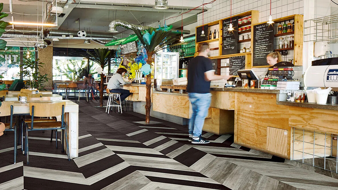 Bar, Cafe Flooring - Luxury vinyl wood planks hungarian point