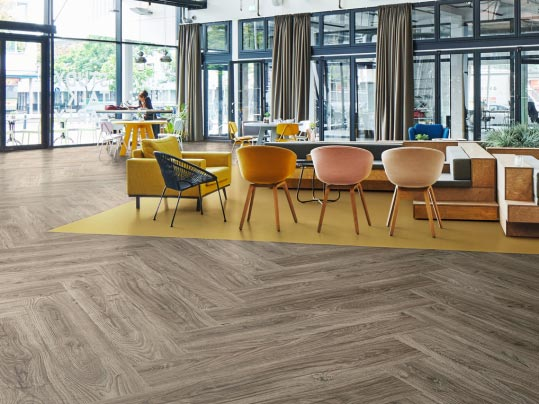 Luxury vinyl tiles and planks for general circulation areas