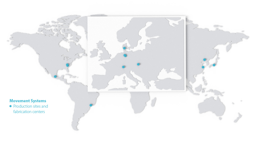World map marked with the locations of Forbo Movement Systems.