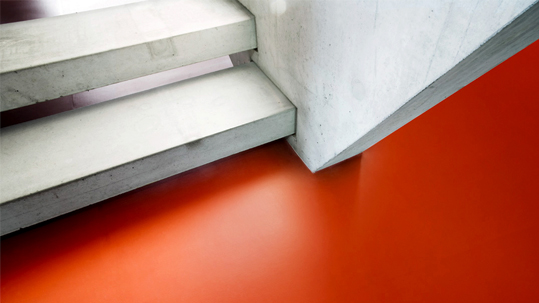 Education Sector: Red Forbo Linoleum Floor On Stairs.