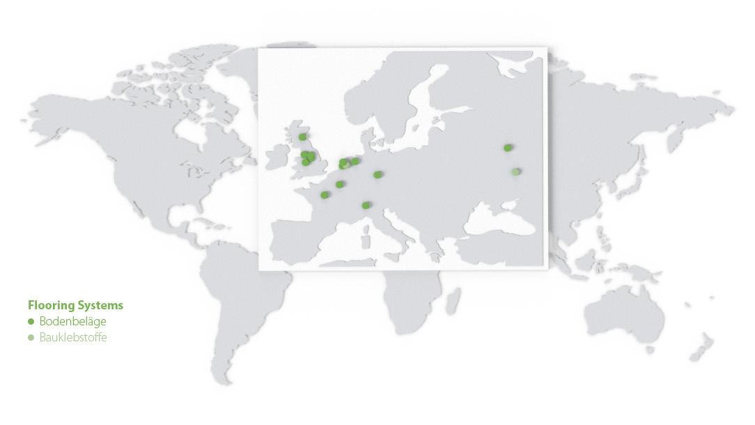 Weltkarte mit einer Übersicht der Standorte von Forbo Flooring Systems.