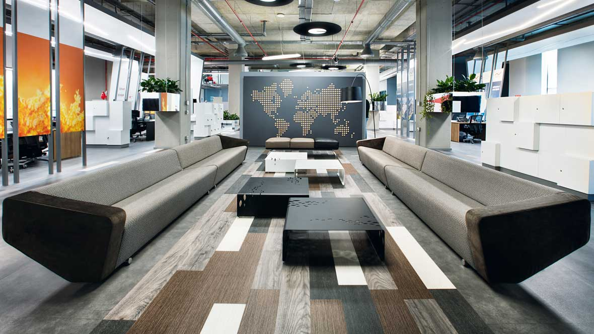 Allura Flex loose lay vinyl tiles in Philip Morris office, Istanbul.