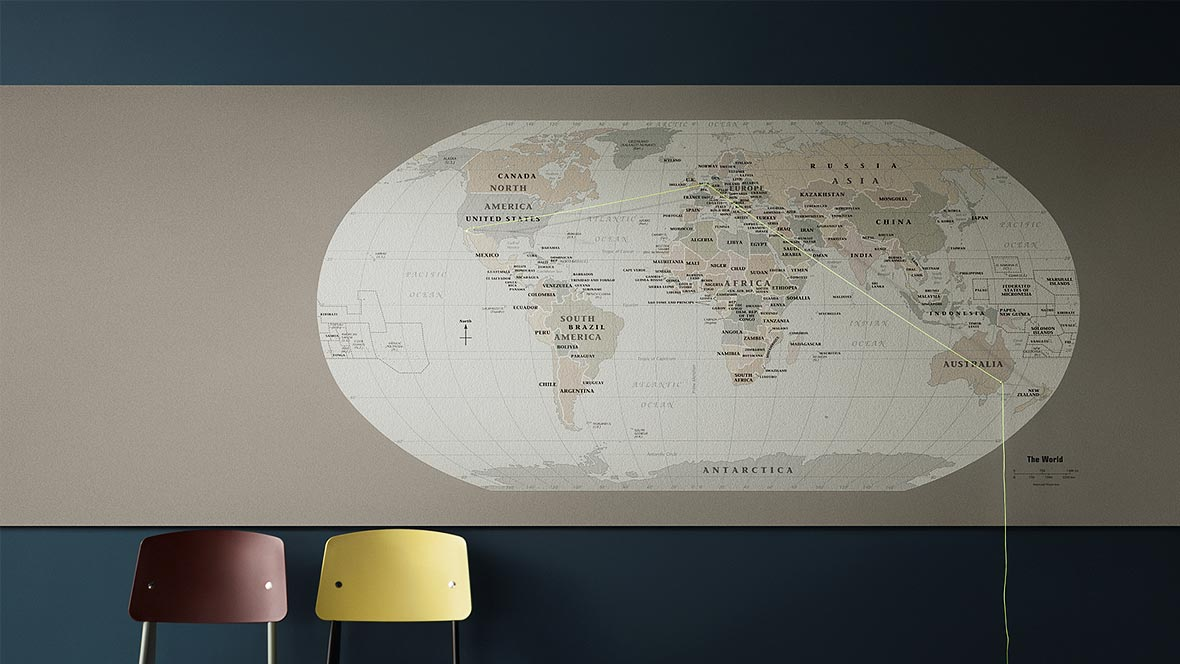 Bulletin Board world map pin board