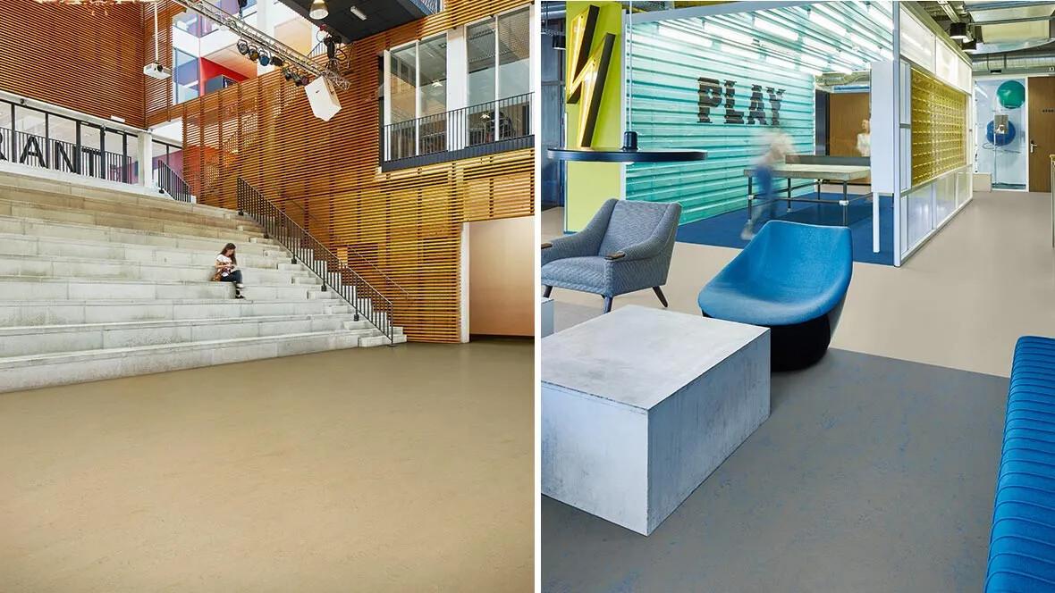 Left image: Marmoleum Concrete 3728 Right image: 3369, 3739, 3734