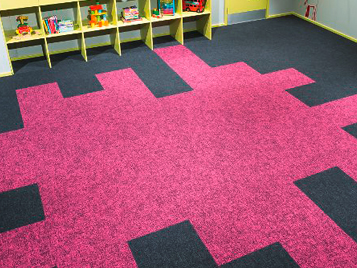 Education: playfully layed Forbo Flotex floor in a kindergarten.