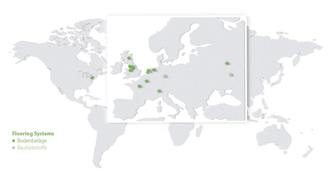 Weltkarte mit einer Übersicht der Standorte von Forbo Flooring Systems 2018.