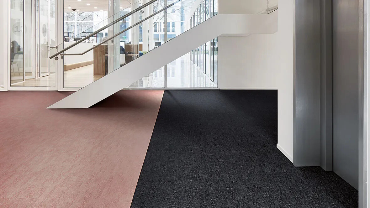 Flotex Colour en losetas - 382001 Anthracite y 382016 Coral