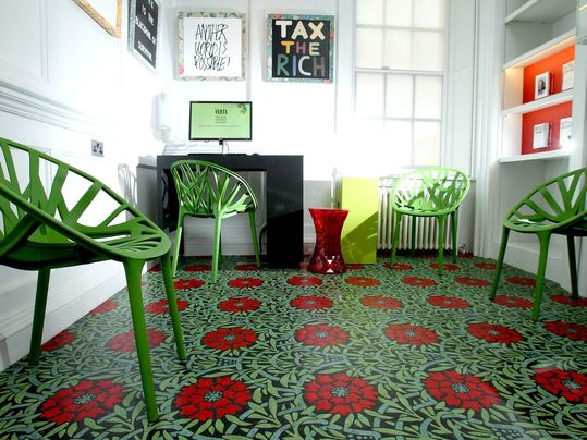 Marmoleum Aquajet William Morris linoleum office flooring