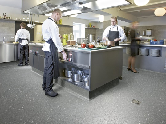 Step safety flooring R12 175952 elephant / grey  in commercial kitchen