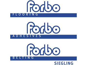 Overview of Forbo umbrella brand strategy with Flooring, Adhesives and Belting.