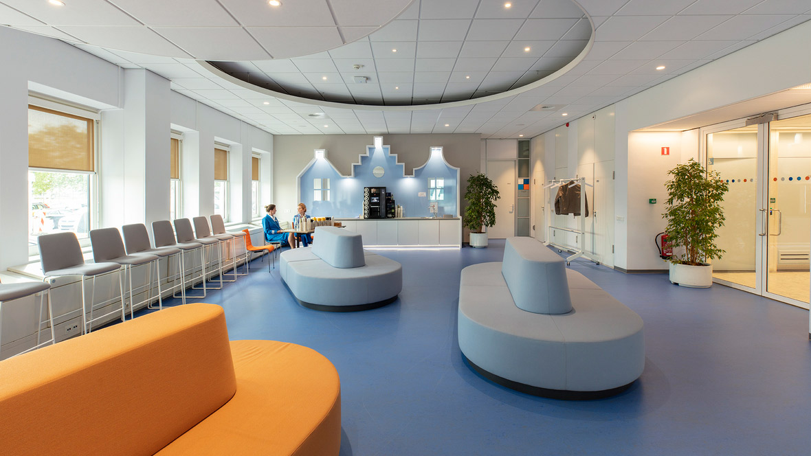 Marmoleum flooring in the KLM Training Center in The Netherlands
