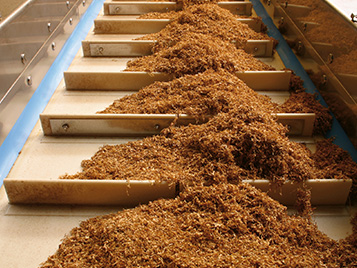 Tobacco: tobacco processing with profiled Forbo Siegling Transilon conveyor belt.