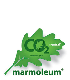 CO2 neutral Marmoleum form cradle to gate logo