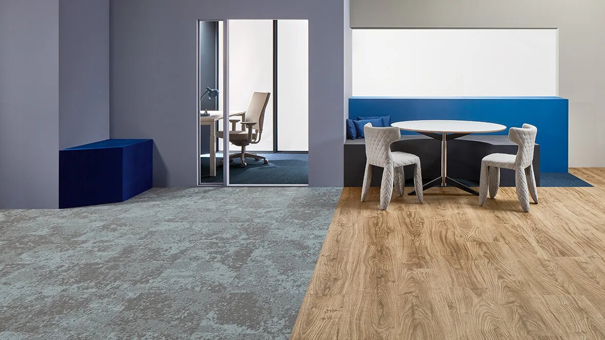 Allura 60300 central oak | Tessera Cloudscape 3407 april shower | Flotex Lava 145009 trident