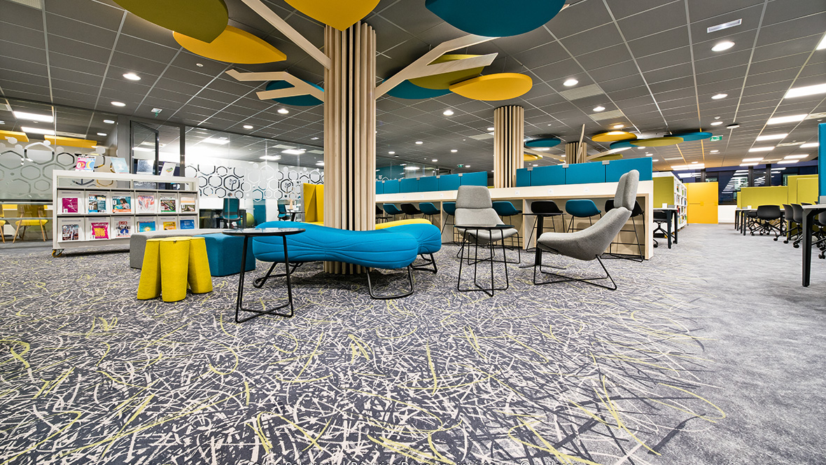 Flotex by Starck flooring in the ISARA engineering school in Lyon, France