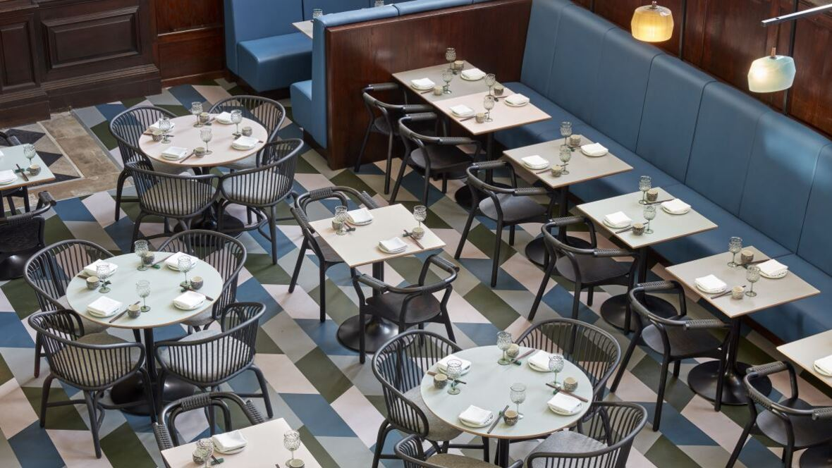Duddell's Restaurant, London. Photography by Ed Reeve – Precision hand-cut Marmoleum
