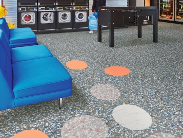 Allura 63492 blue terrazzp 63574 pink coral circle 63550 white marble circle + 63588 pink terrazzo circle