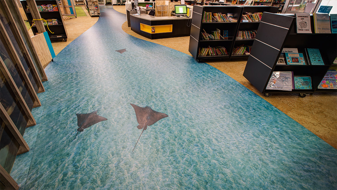 SA primary school library  - digital printed vinyl flooring