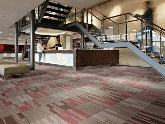 Flotex Linear Cirrus textilplattor i hotellreception