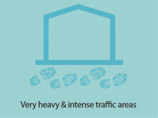 Tuftiguard is suitable for very heavy and intense traffic